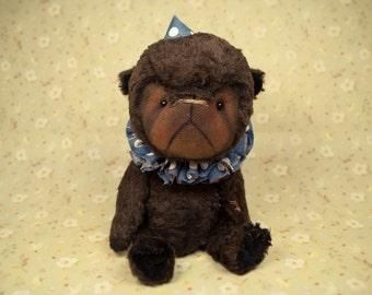 Artist teddy bear, antique sawdust teddy bear, vintage, 7in, brown ooak eco bear, Melochy, Maria Trotsenko