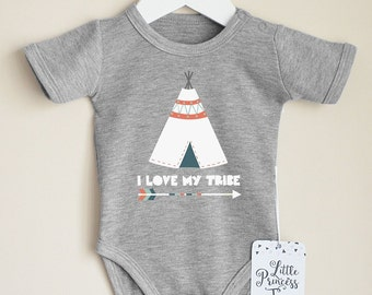 Love My Tribe Baby Clothes. Teepee Baby Shirt. Hipster Baby Bodysuit. Tribal Baby Clothes. Coming Home Outfit.