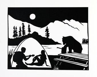 Camping Papercut