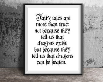 Dragons Can Be Beaten, Coraline Quotes, Neil Gaiman, Instant Download, Digital Prints, Wall Art, Printable Art, Home Decor, Fairy Tales