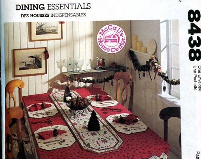 FREE US SHIP McCall's 8438 Home Decor Tablecloth Napkin Chair Pad Dining Kitchen Table Essentials Out of Print Sewing Pattern