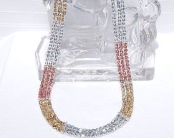 Tri-color Czech glass 3-strand necklace