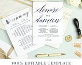 Wedding Program Template, Printable Flat Program, Double Sided, Word or Pages, Mac or PC, Modern Calligraphy, Instant DOWNLOAD