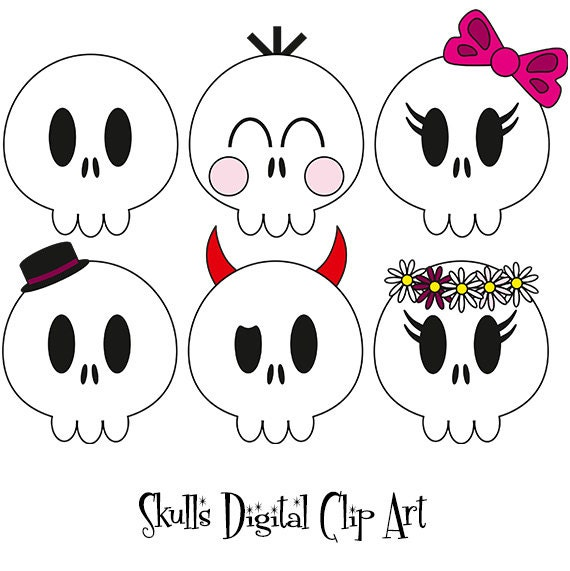 Halloween Skulls Digital Clipart,Skull icon,Skull graphics,Planner clipart,Planner Stickers,Illustration INSTANT DOWNLOAD