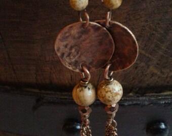Copper & picture jasper earrings