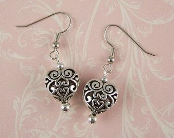 Heart Earrings - Silver Earrings - Filigree Earrings - Art Deco Victorian Womens Wedding Heart Jewelry - Gifts for Her Mom Bridesmaids Wife