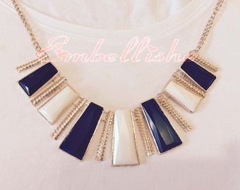 Ultra-chic black & white geometric statement necklace