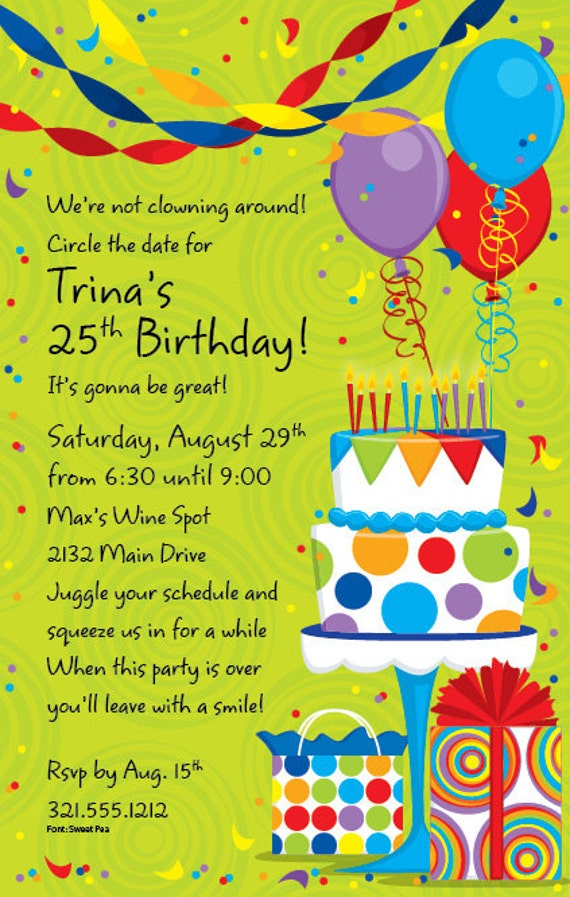 Celebrate birthday party invitation celebration invite birthday il570xn stopboris Choice Image