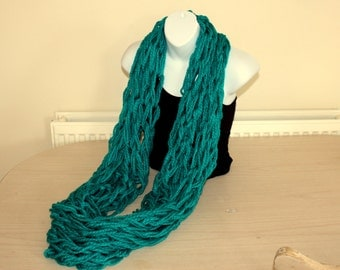 Sea Green Scarf, Chunky Infinity Circle Scarf, Blue Knitted Cowl Neck Warmer