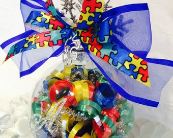 Personalized Autism Glass Ornament, Autism Awareness, Autism Gifts, Puzzle Piece Ornament, Special Ed Gift, Autism Baubles