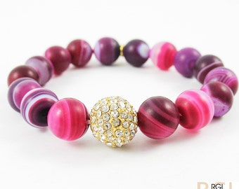 Pink agate stretch bead bracelet, Agate bead bracelet, Breast cancer awareness, Boho chic, Gift for women, Stackable bracelet