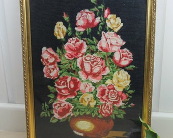 Vintage Floral Petit Point/Needlepoint/Tapestry/Embroidery Picture