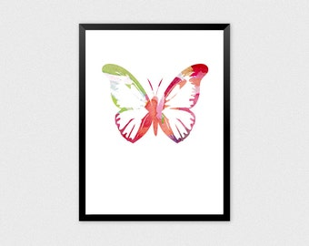 Butterfly Abstract | Butterfly Rainbow, Butterfly Poster, Multicolor Butterfly, Spring Insect, Insect Rainbow, Insect Abstract, Bug Painting