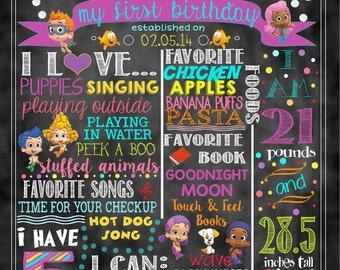"Bubble Guppies Birthday Stat ""Chalkboard""(digital poster)"
