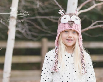 Pink Baby Owl Hat, Newborn Girl Coming Home Outfit, Baby Girl Hat, Owl Beanie, Owl Party, Little Girl First Birthday Outfit, New Baby Shower