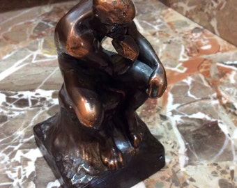 Small Patinated Bronze Sculpture after Auguste Rodin's Le Penseur, The Thinker Statue