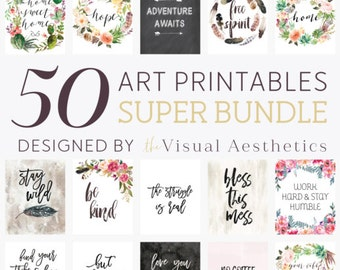SALE Bundle of 50 art printables, printables bundle, printable quotes, home or office decor, quote art, boho prints, gallery wall art decor