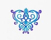 Decorative stamp - Ornamented Heart / Unmounted rubber stamp - Vintage style - Ddokstamp