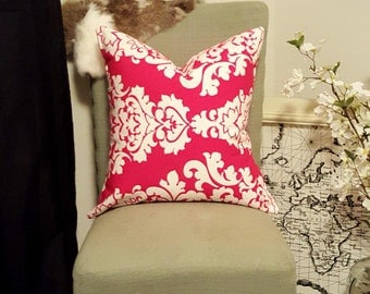 Red Jacquard Damask Pillow