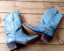 VTG Cowboy Boots | Vintage Western Wear | Landis | Women's 9.5 | Men's 8 | Distressed Boots | Biker Boots | Blue Boots | Tall Leather Boots