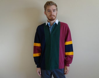 XL Vintage Color Block Rugby Long Sleeve Shirt