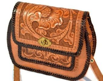 Leather Handbag, Tooled Leather Bag, Southwest Handbag, Southwest Purse, Hand Tooled Bag, Western Wear, 1970's Style, Boho, Hippie Bag,