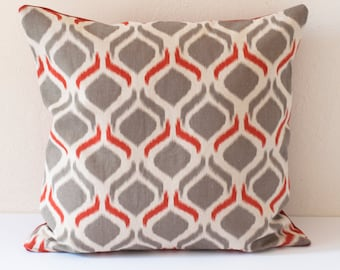 Orange Pillow, Burnt Orange Pillow, Gray and Rust Colored Pillow, Gray Ogee Motif, Linen Fabric Pillow, Gray with Burnt Orange Detail Pillow