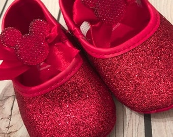 FREE SHIPPING, red glitter shoe, Christmas Shoes, Mickey mouse shoes, red shoes girl, baby shoes, baby glitter shoes, baby girl shoes
