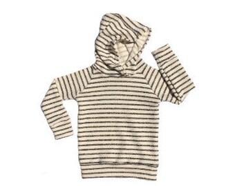 Heathered black and cream striped hoodie // baby hoodie // toddler hoodie // black and cream striped hooded sweatshirt // limited quantity