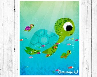 Sea Turtles Wall Art Nursery Print Kids Room Decor Children's Wall Art Baby nursery Decor Wall Art Print Kids Gift