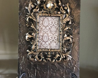 """Large 16"""" x 10"""" Decorative Embellished Frame with Bling and Stand - Free Shipping"""