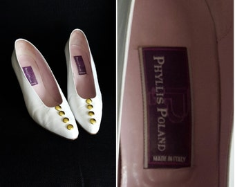 80's vintage white pumps/ vintage 1980's womens shoes/ vintage leather heels made in Italy/ Phyllis Poland shoes/ 80's retro pumps/size 8.5