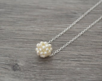 Freshwater Pearl Necklace • Sterling Silver Ivory Freshwater Pearl Cluster Necklace • UK Seller