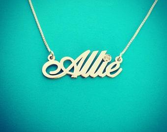 Diamond Name Necklace - White Gold Name Necklace Pendant Diamond Name Chain Name Necklace With Diamond necklace name Necklace Allie Neckalce