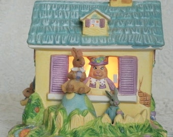 Vintage Bunny Night Light, collectable home decor cottage chic decoration animal retro victorian rabbit easter