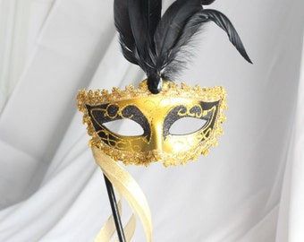 Masquerade Mask with handle - Gold and Black, Costume, Dressup, Silver, Blue, Pink, Purple, Green, Turquoise, overthetopcaketopper