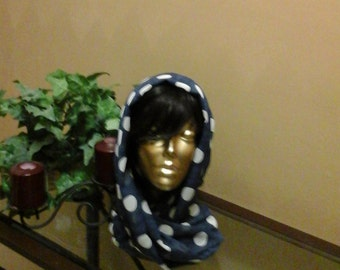 Navy Blue with Polka Dotted Infinity Scarf