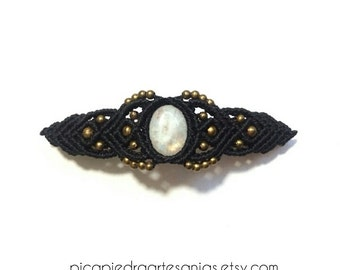 Hair clip barrette with MOONSTONE. Boho hippie Bohemian hair clip. Wedding guest hair accessories. Moonstone Jewelry. June Birthstone