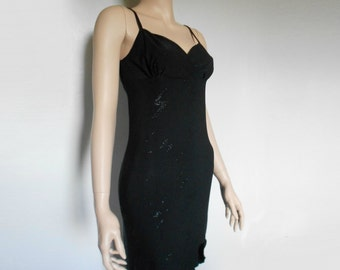 90s Vtg Diamonte Lighting Black Glitter Goth Grunge Clueless Asymmetrical Ruffle Bust Strap Dress size Small