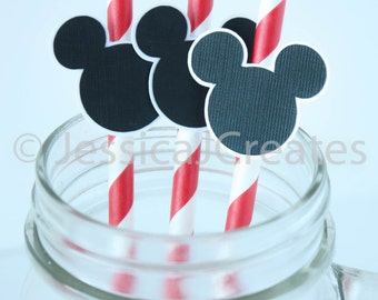 Mickey Mouse - Mickey Mouse Paper Straws - Paper Straws - Mickey Mouse Inspired Straws - 12 ct