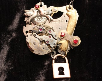 Lock and Watch Gear Pendant with Doves, Gems and Found Objects