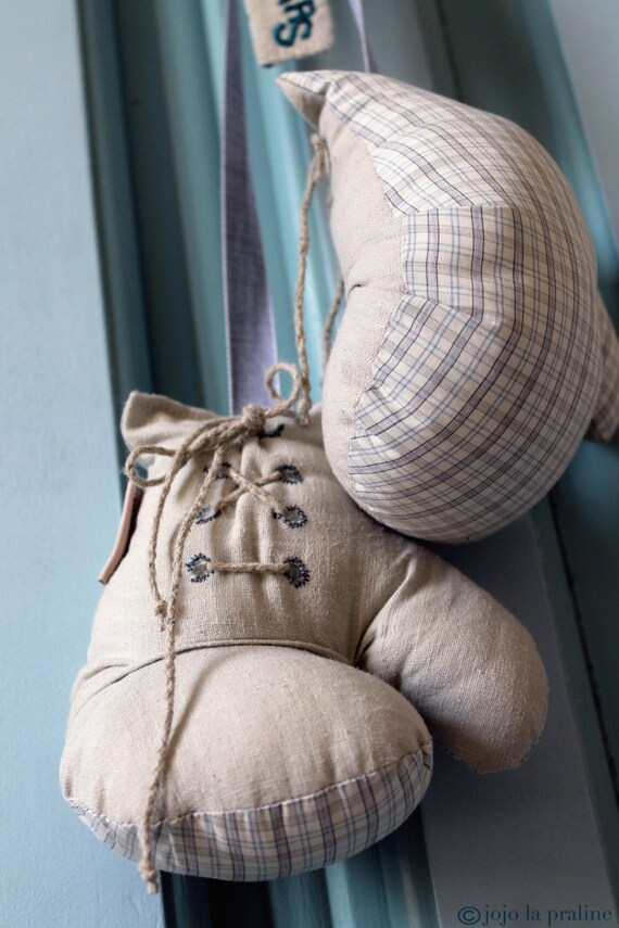 Gants de boxe en lin et coton de style r tro d coration - Gants de boxe vintage ...