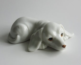 Vintage porcelain dog figurine, made in japan, 1970, laying down, collectible, gift idea, home decor, antique, animal figurine, ceramic