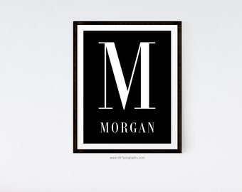 Black Monogram Print, Custom Print, Name Print, Initial Print, Cadre, Nursery Wall Art, Black White Print, Personalized Print, Home Decor
