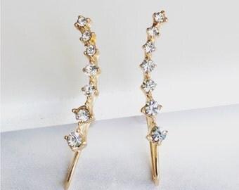 Crystal Ear Pin Earrings, Gold Earrings, Minimalist Earrings