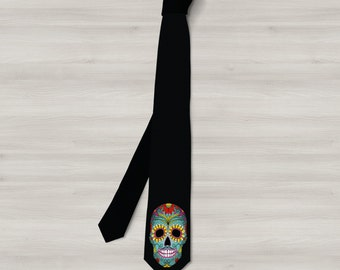 Single Sugar skull Tie,sugar skull Necktie,Rockabilly  Neck ties, Scarfs, skull Tie,Ties,Mens neck ties.sugar skull neck Ties, Bandannas.