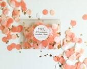 Coral, Peach, White, & Gold Tissue Confetti / Round Cut / Handmade / Bridal Shower, Baby Shower, Birthday's, Weddings, etc.