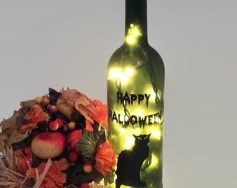 Happy Halloween / Wine Bottle Light / Halloween Decoration / Black Cat