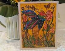 Note Card ... Homemade Water Color Art, Hummingbird Gift Card, Art Nouveau, Music Note Cards,  Homemade Bird Stationary, Illustration Design