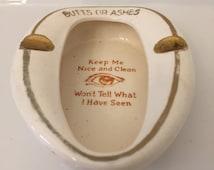 Vintage Decorative Ceramic Cigarette Ashtray White in Shape of Toilet w/ Gold Writing Japan